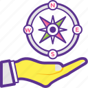 compass in hand, geography, hand holding compass, journey, navigational compass icon