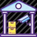 industrial security, secure storage, secure supplies, security storage unit, warehouse security icon