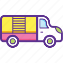 loading vehicle, moving and storage, shuttle services, shuttle truck, smaller truck icon