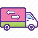 commercial vehicle, delivery van, pickup truck, shipping van, utility van icon
