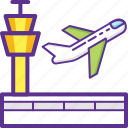 aerodrome, airport, control tower, plane take off, runway icon