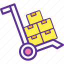dolly, hand truck, luggage cart, moving trolley box, push cart icon