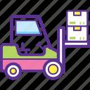 bendi truck, fork truck, forklift truck, industrial transport, loading forklift