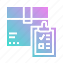 box, clipboard, delivery, list, package icon