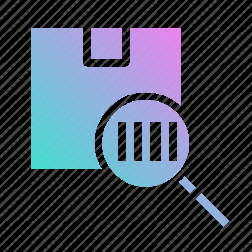 box, check, delivery, search, shipping icon
