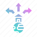 expand, export, move, out, trade icon