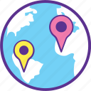 geographical distance, geolocation, global positioning system, gps, route planning icon