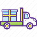 commercial delivery vehicle, delivery service, delivery truck, freight transportation, shipping transport icon