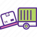delivery service, delivery van, load boxes, loading volume, shipping loading icon