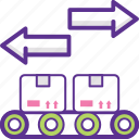 conveyor, conveyor belt box, package sorting, product distribution, store conveyor icon