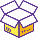 cardboard box, carton, empty box, open box, packaging icon