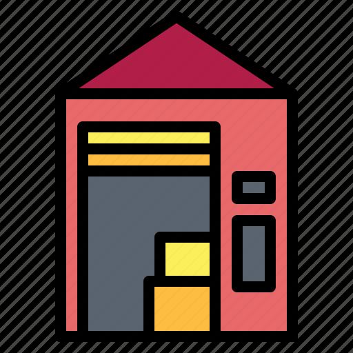 factories, stocks, storage, warehouse icon