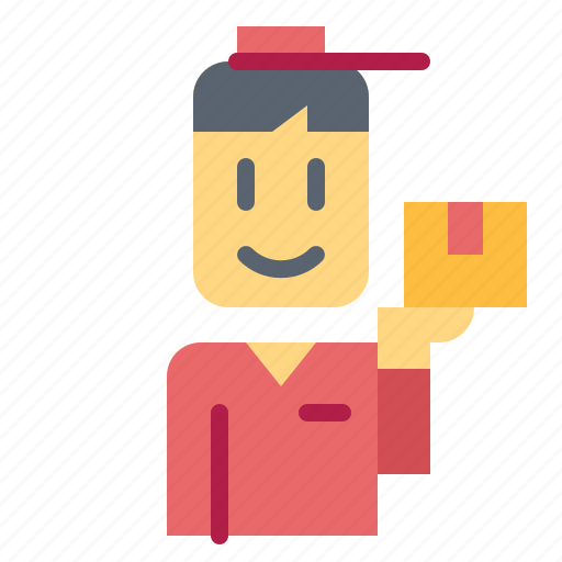 box, commerce, delivery, man, shipping icon