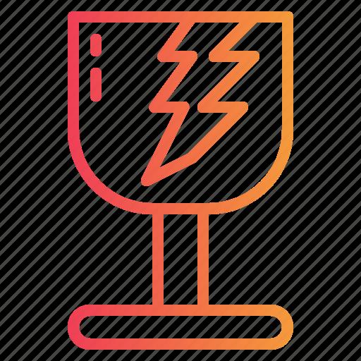broken, fragile, glass, warning icon