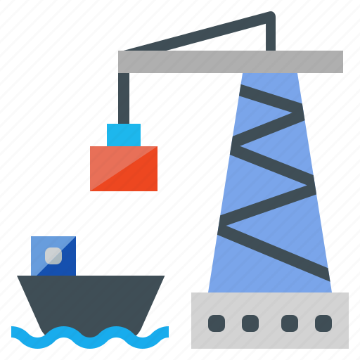 Cargo, crane, freighter, logistic, port, ship icon - Download on Iconfinder