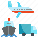 airplane, boat, carry, logistics, transport, transportation, truck