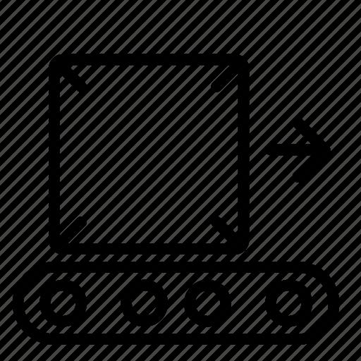 belt, carry, conveyor, factory, goods, logistics icon