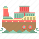 cargo barge, cargo ship, logistics, shipping container icon