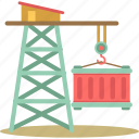 container, crane, lifting crane, logistics, shipping container icon