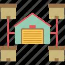center, distribution, logistics, storage unit, warehouse icon