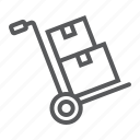 box, boxes, cardboard, dolly, hand, logistic, truck icon