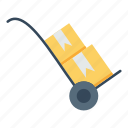 boxes, delivery, handtruck, hipping, logistic, parcels, transport icon