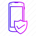 internet, mobile, phone, shild icon