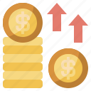 arrows, business, coins, evolution, finance, growth, up