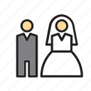 bride, couple, groom, love, people, wedding icon