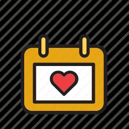 calendar, day, heart, love, romance, valentines icon