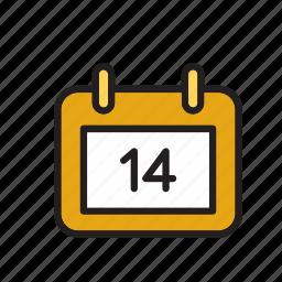 14, calendar, day, february, love, romance, valentines icon