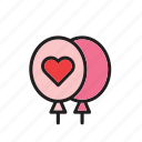 balloon, balloons, day, heart, love, romance, valentines icon