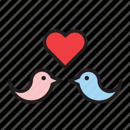 animal, bird, day, heart, in love, love, valentines icon