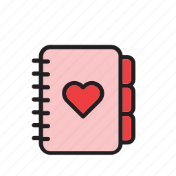 day, heart, love, notebook, romance, stationery, valentines icon