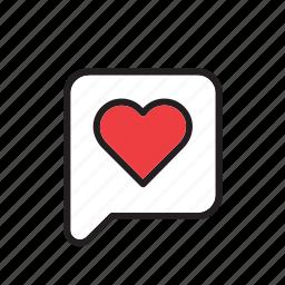 bubble, day, heart, love, romance, speech, valentines icon