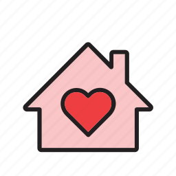 building, day, heart, home, house, love, valentines icon