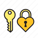 day, heart, key, love, padlock, romance, valentines icon