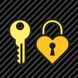 day, heart, key, love, padlock, romance, valentines icon