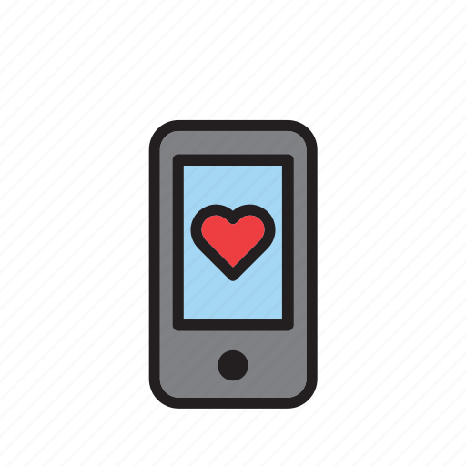 cellphone, heart, love, phone, smartphone, technology, valentines icon