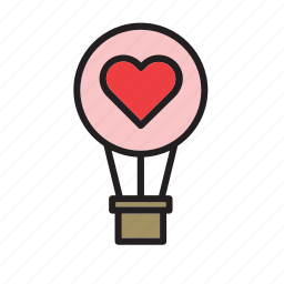 day, heart, hot air balloon, love, romance, transport, valentines icon