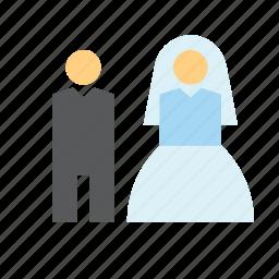 bride, couple, groom, love, people, romance, wedding icon