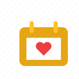 calendar, day, heart, love, romance, valentines, wedding icon