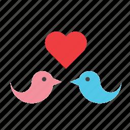 animal, bird, birds, heart, in love, love, valentines icon