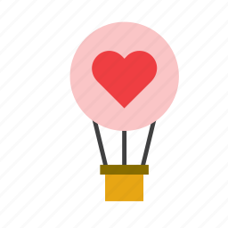 heart, hot air balloon, love, romance, transport, valentines icon
