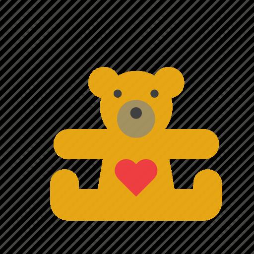 bear, cuddly, heart, love, teddy, teddybear, toy icon