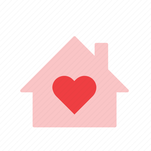 building, heart, home, house, love, romance, valentines icon