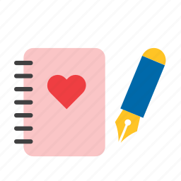 day, heart, love, notebook, notepad, stationery, valentines icon