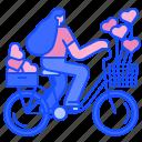 bike, bicycle, heart, valentine, romantic, love, women