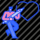 draw, feeling, man, love, heart, valentine, romantic