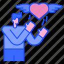 wing, feeling, man, love, heart, valentine, romantic
